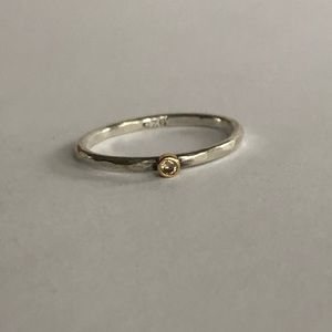 Jewelry - Champagne Diamond Ring in Silver & Yellow Gold